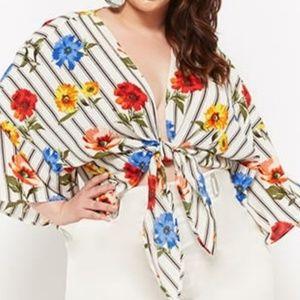 Plus Size Floral Striped Tie-Front Top